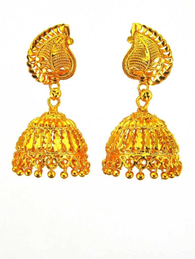 Pendientes dorados de campana