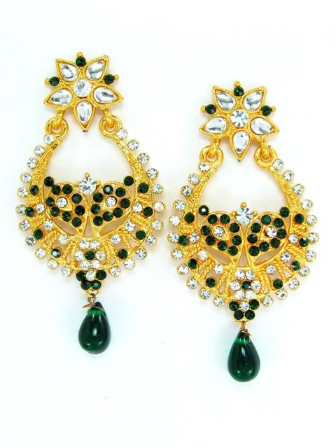 pendientes dorado y verde elegante