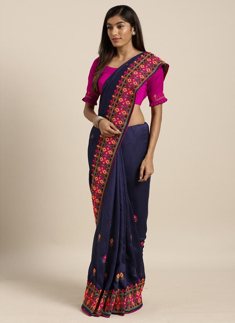 Sari azul bordado