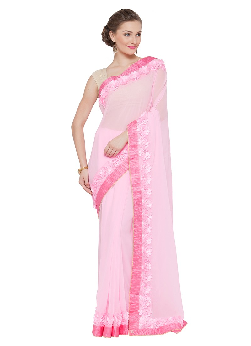 Sari Pink Barbie Flowers