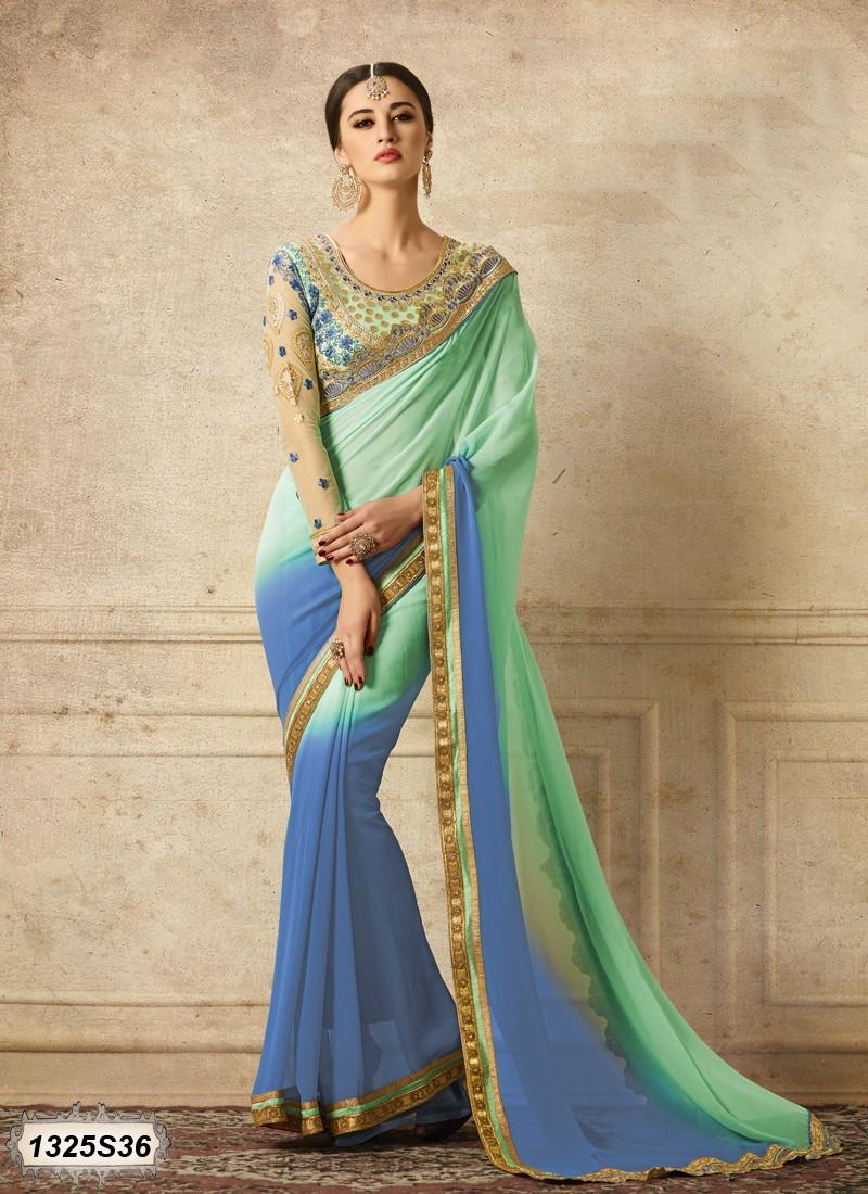 Saree elegante azul y verde