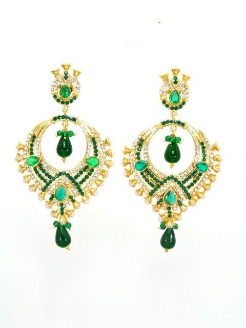 pendientes hindues verdes y dorados