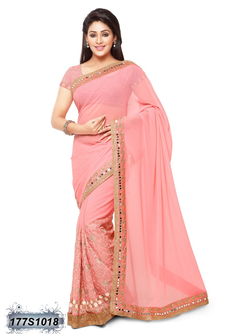 saree pink party