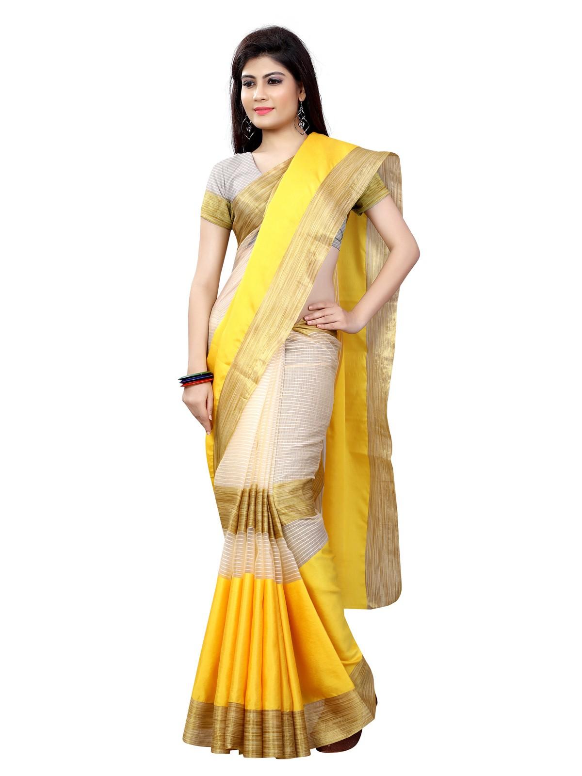 saree amarillo y dorado