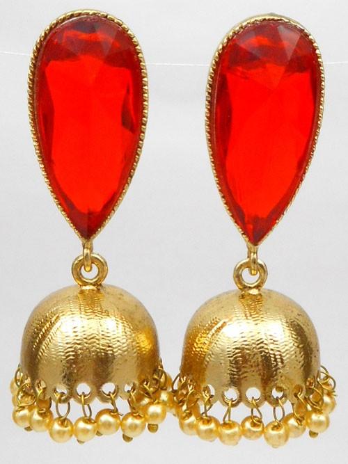pendientes bollywood Rojo y Dorado