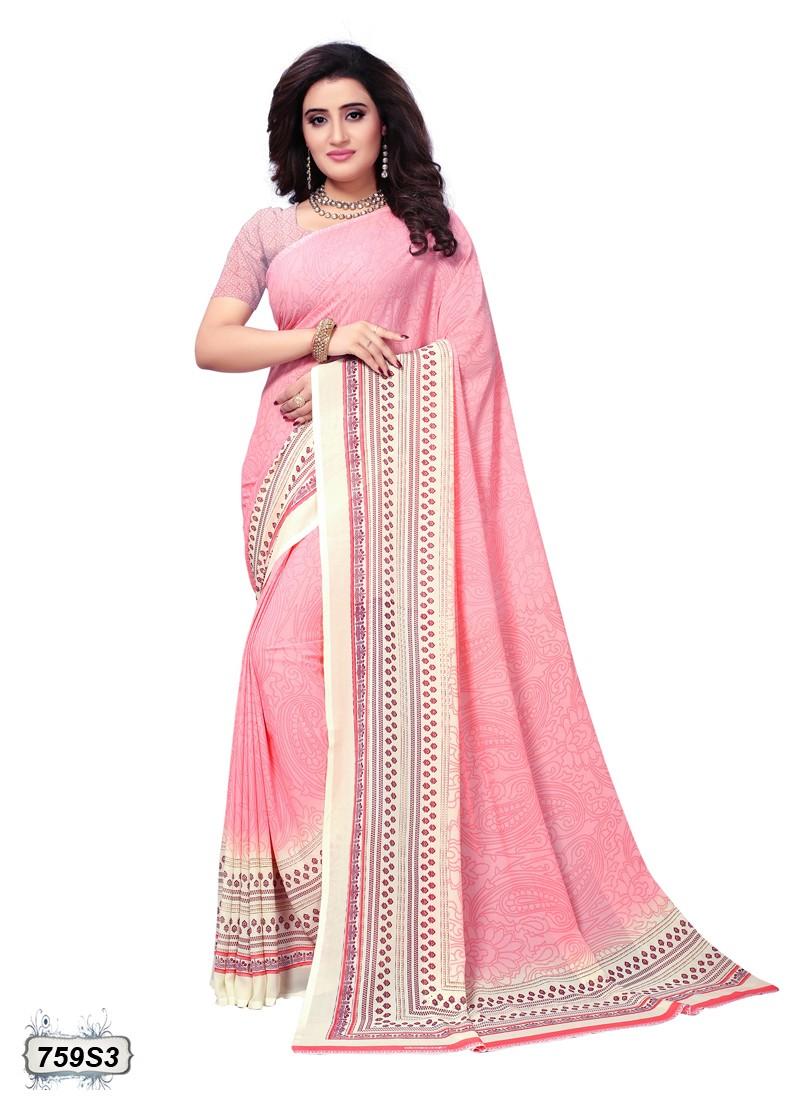 saree color rosa pastel y vainilla