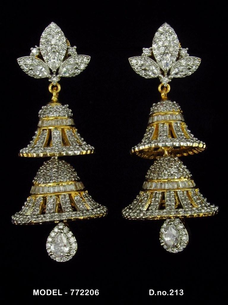 pendientes dos campanas piedras blancas
