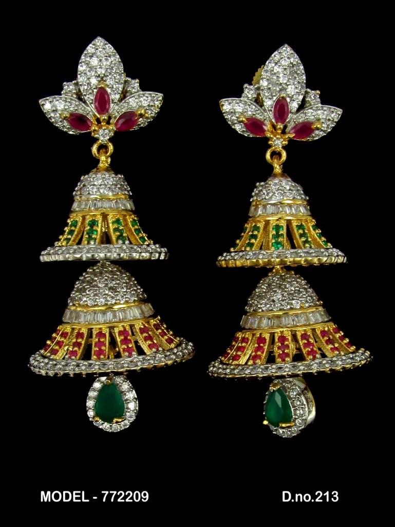 Pendientes dos campanas blanco fuxia y verde