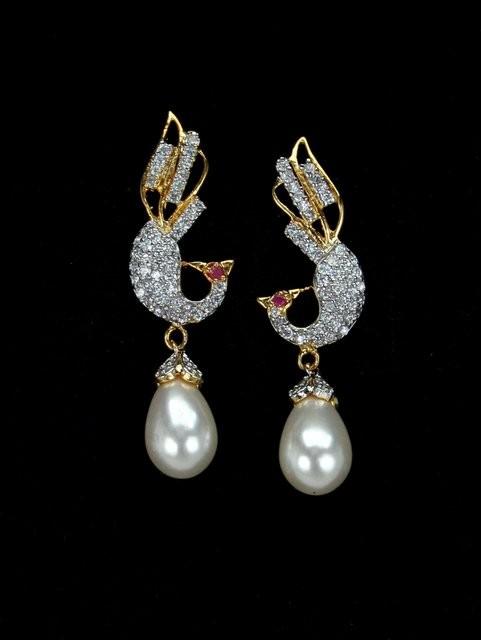 Pendientes pavo real perlas