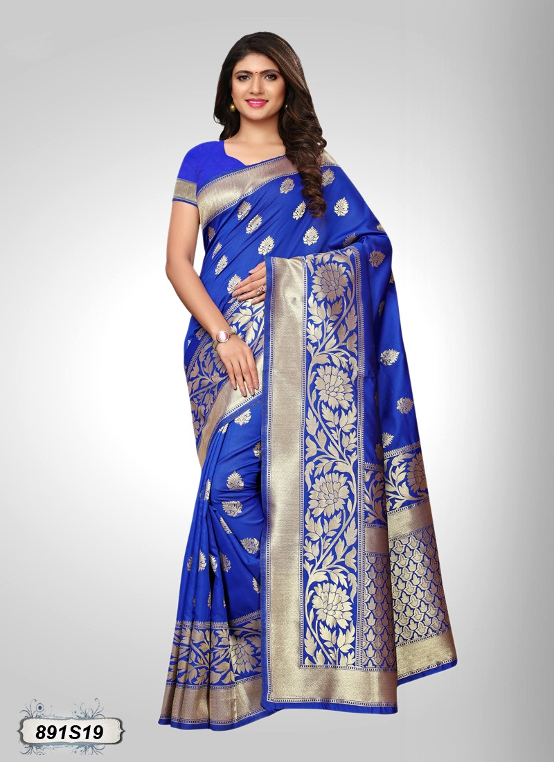 Saree Blue and golden Doll