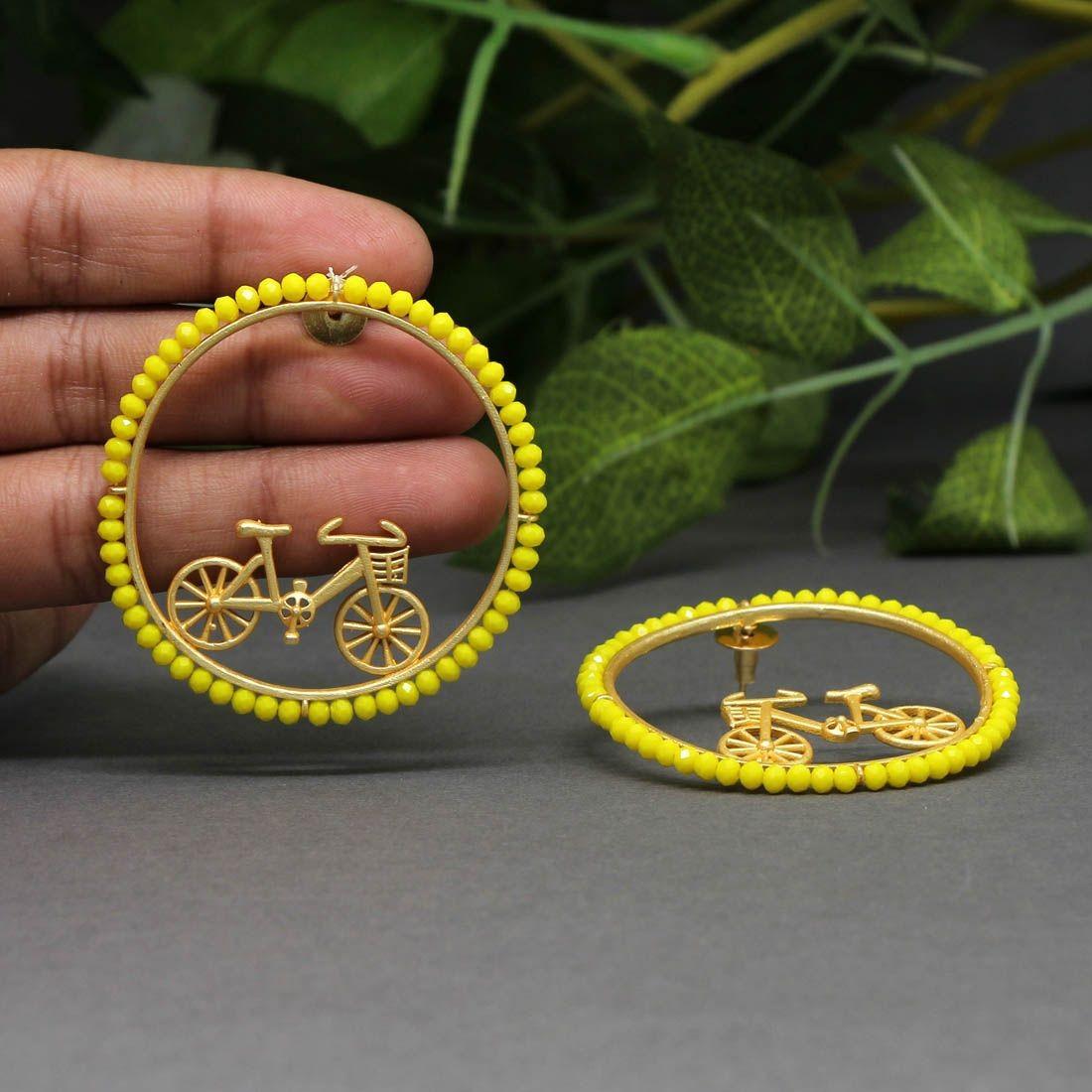 Pendientes bicicletas cristal amarillo