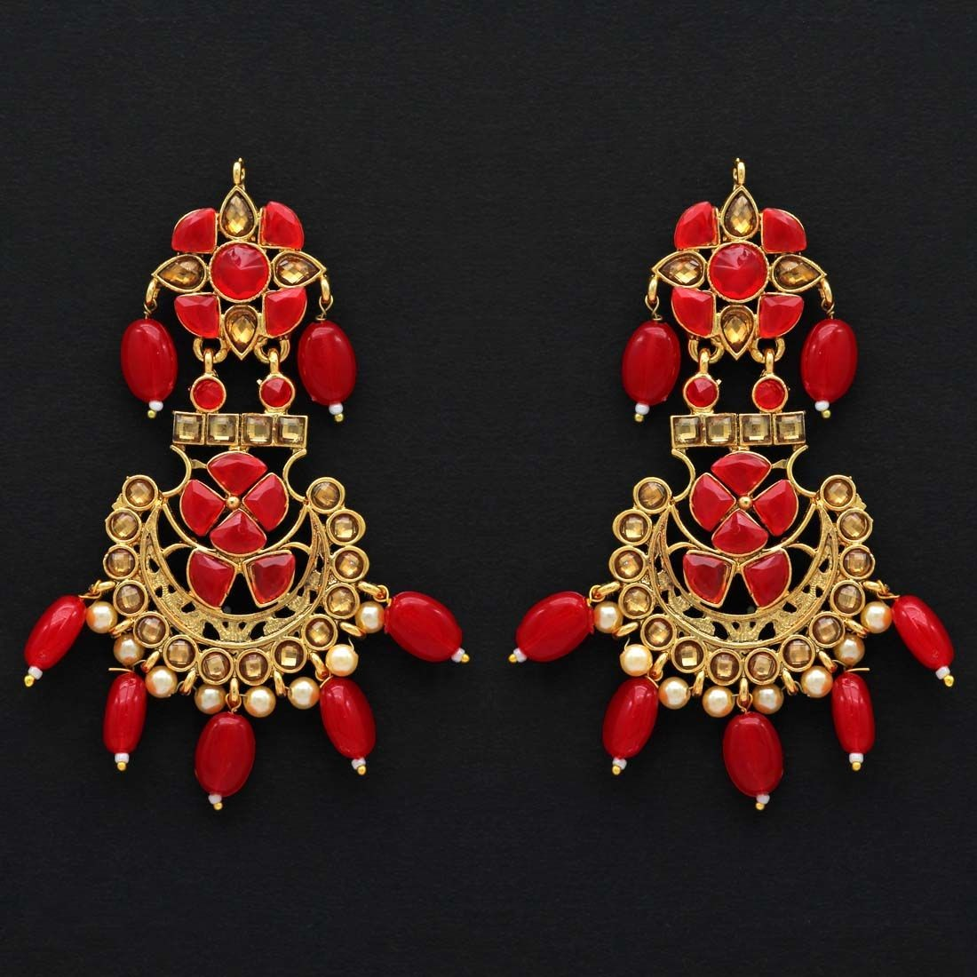 Pendientes rojos India 9´5 cm
