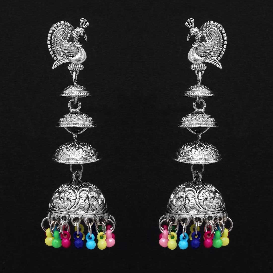 pendientes pavo real con campanas colorines