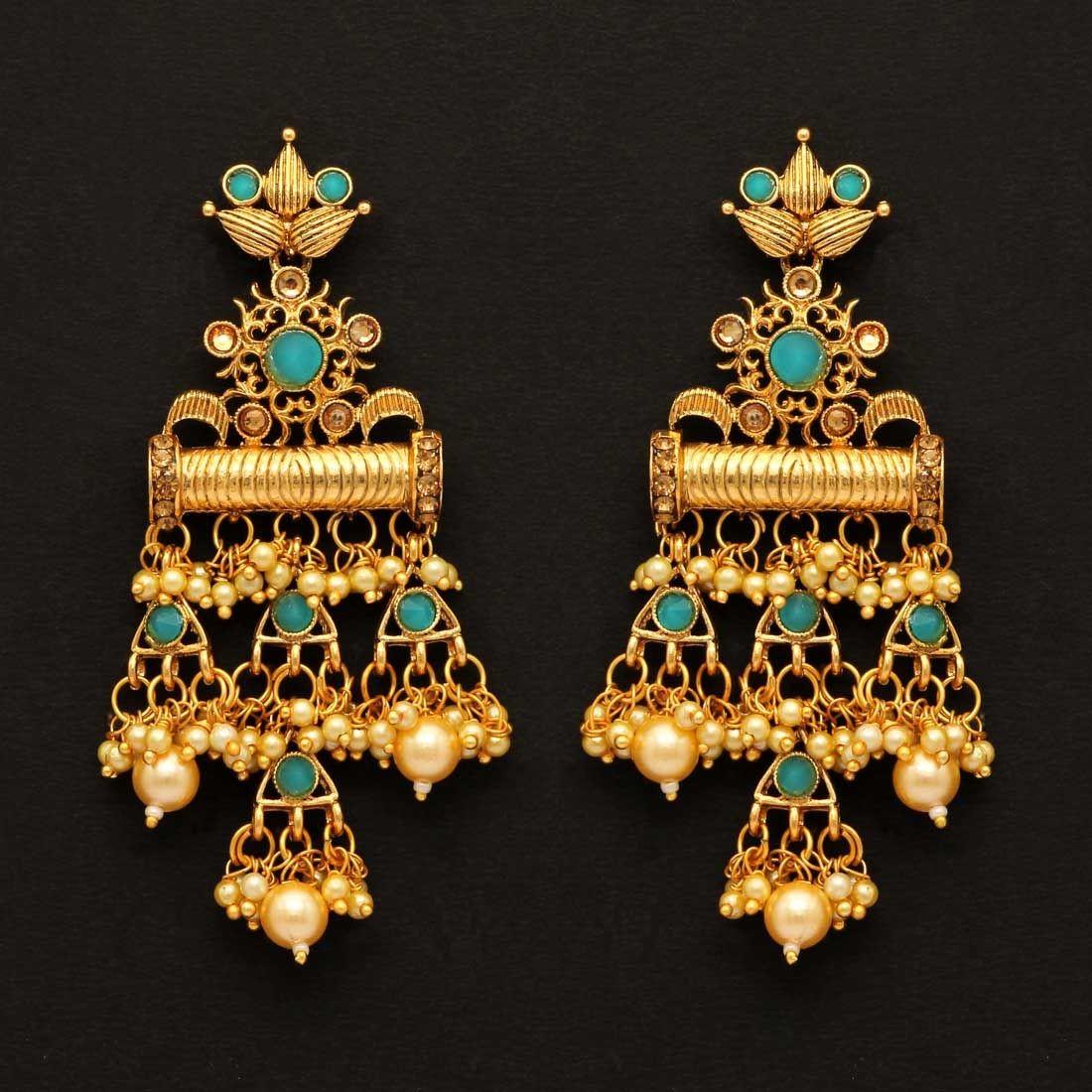 Pendientes india 9´5 cm colgantes perlas