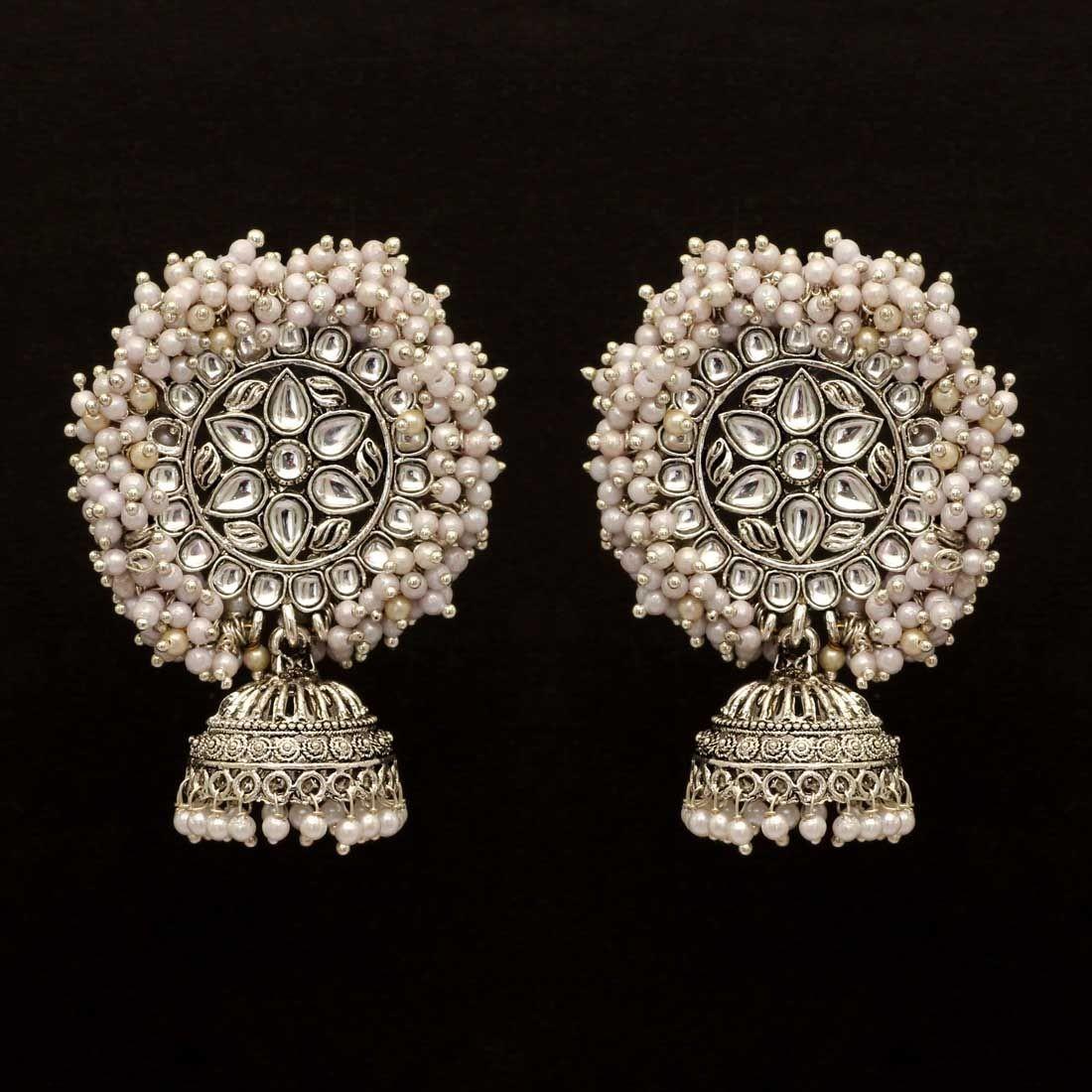 Jhumkas perlas blancas