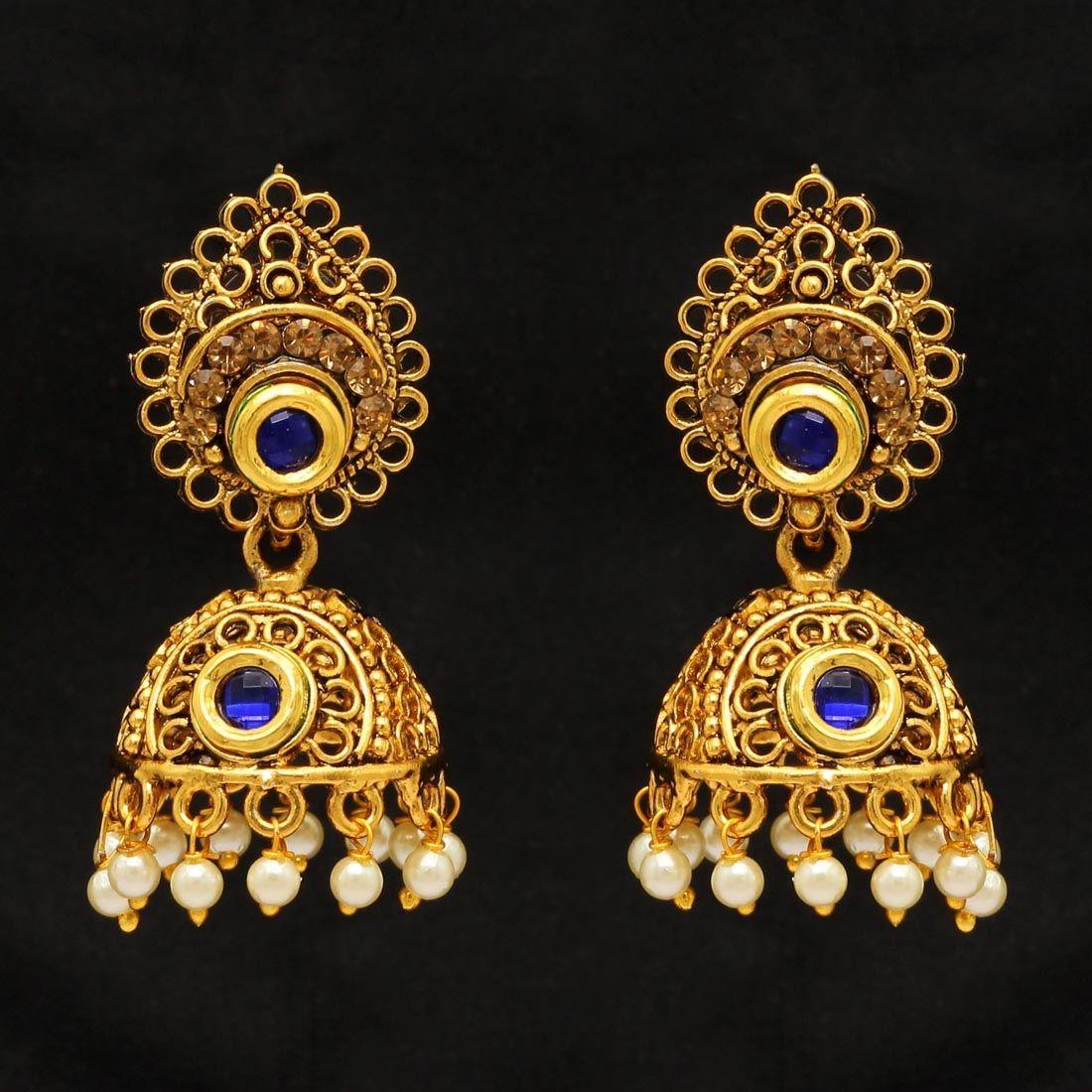 Pendientes hindues piedras doradas y azules