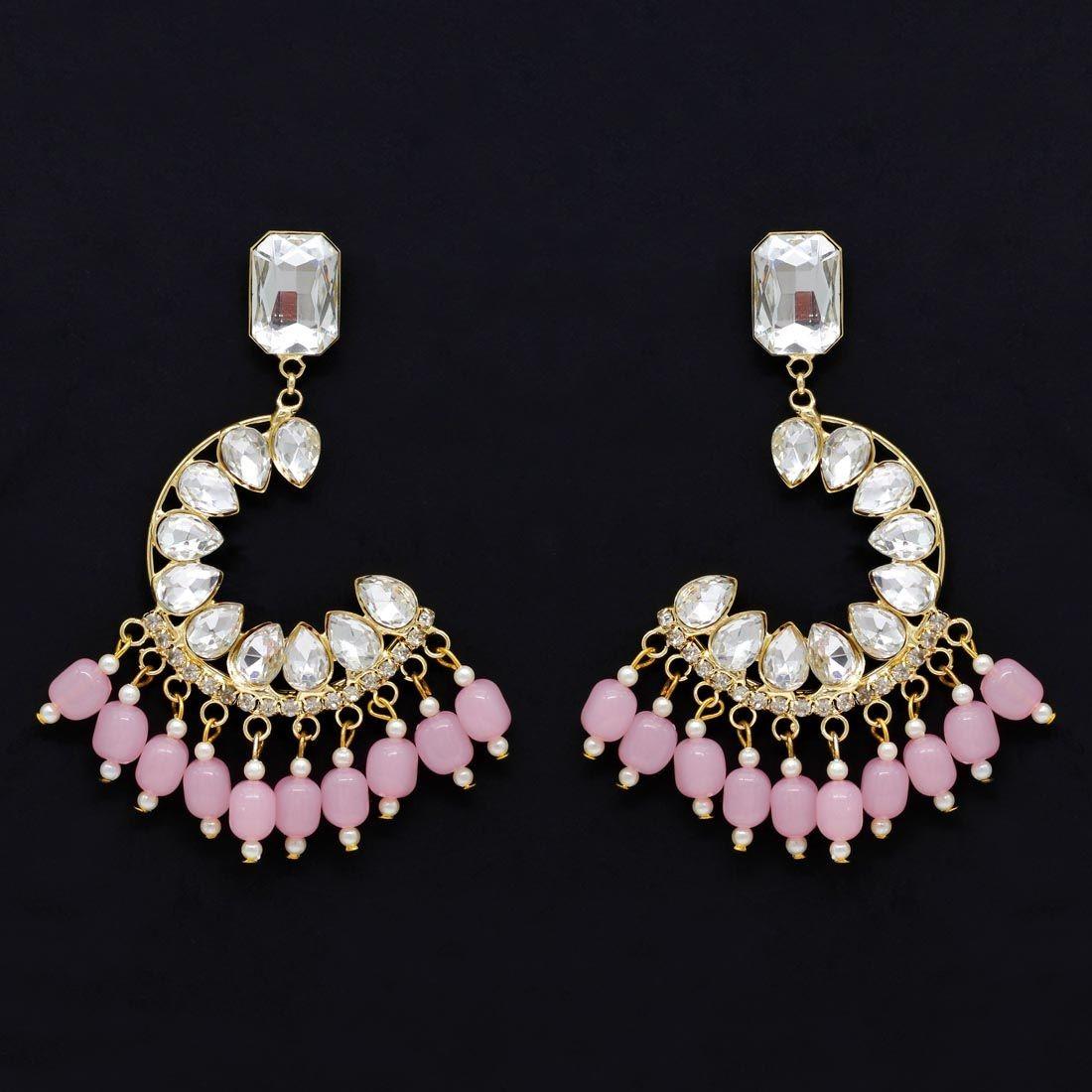 Pendientes cristales rosa claro