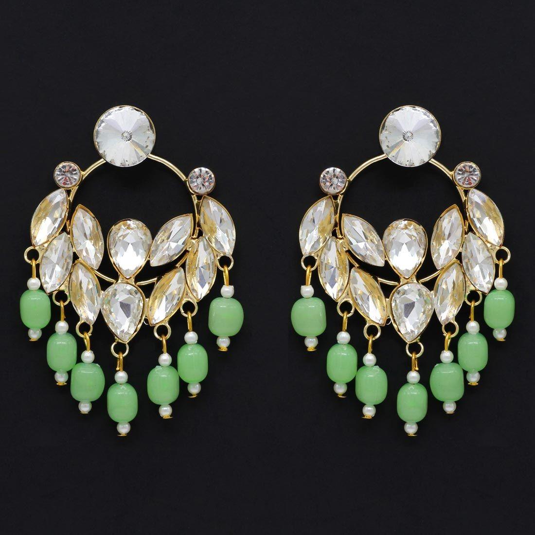 Pendientes de fiesta verde claro con cristales