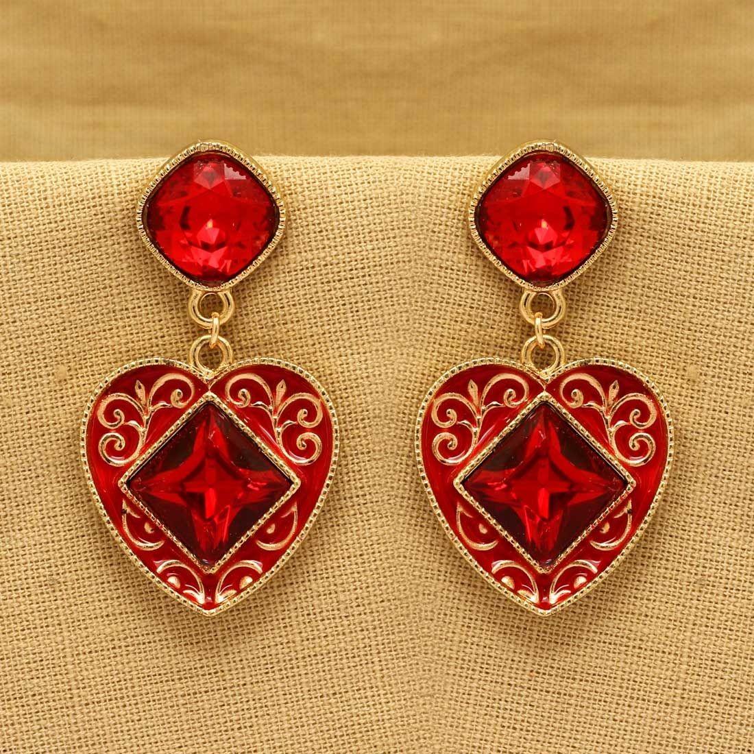 Pendientes rojos de corazon