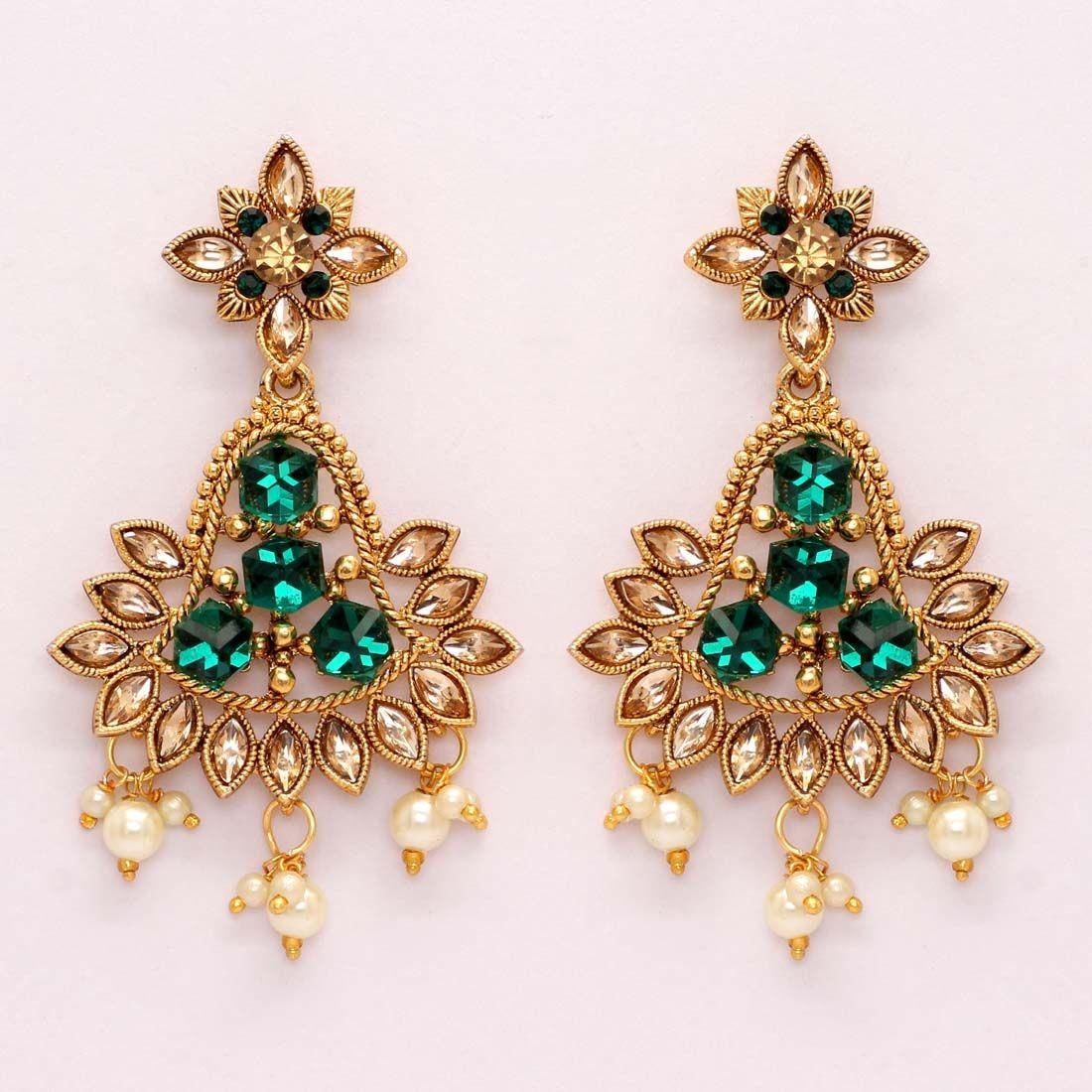 Pendientes 3D cristales verde esmeralda