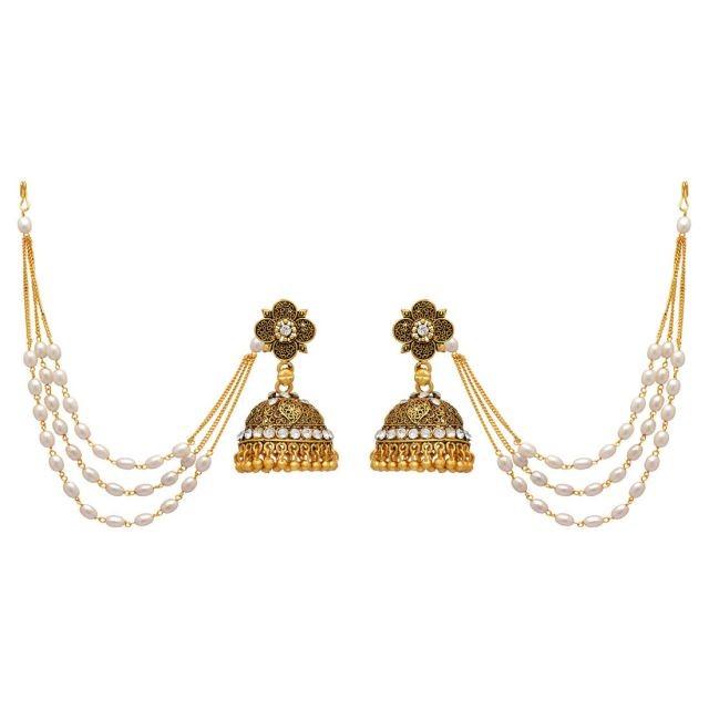 Pendientes de campana con extensiones perla