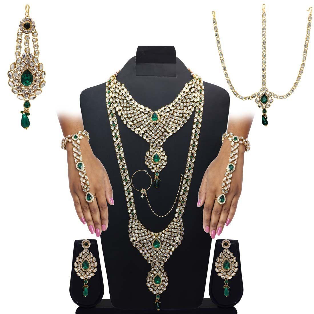 Conjunto novia india verde esmeralda