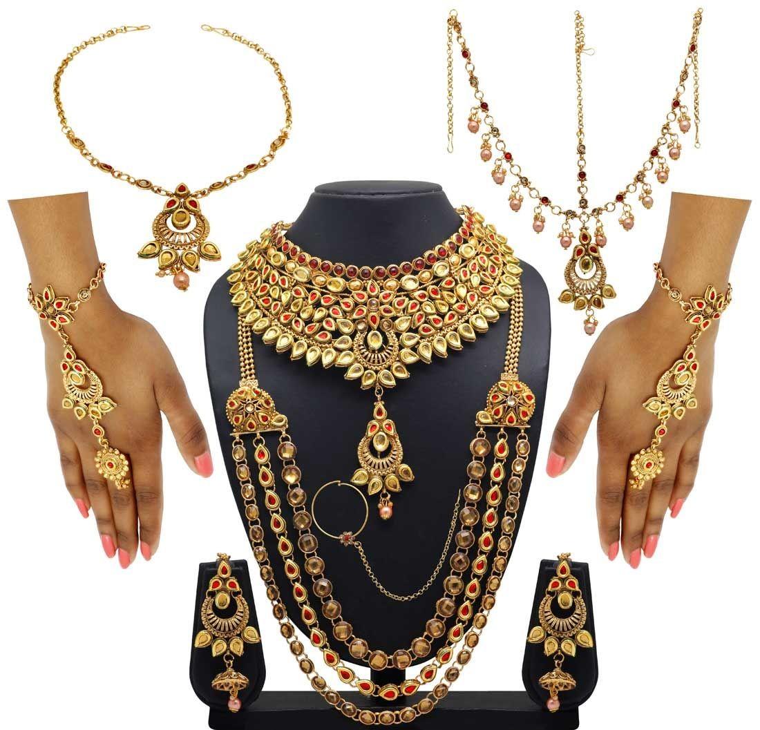 Conjunto novia india dorado y rojo