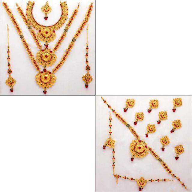 Conjunto de joyas de bisutería novia hindu
