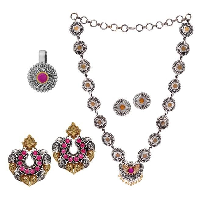1 Conjunto de collar con pendientes + 1 pendientes largos + 1 piercing