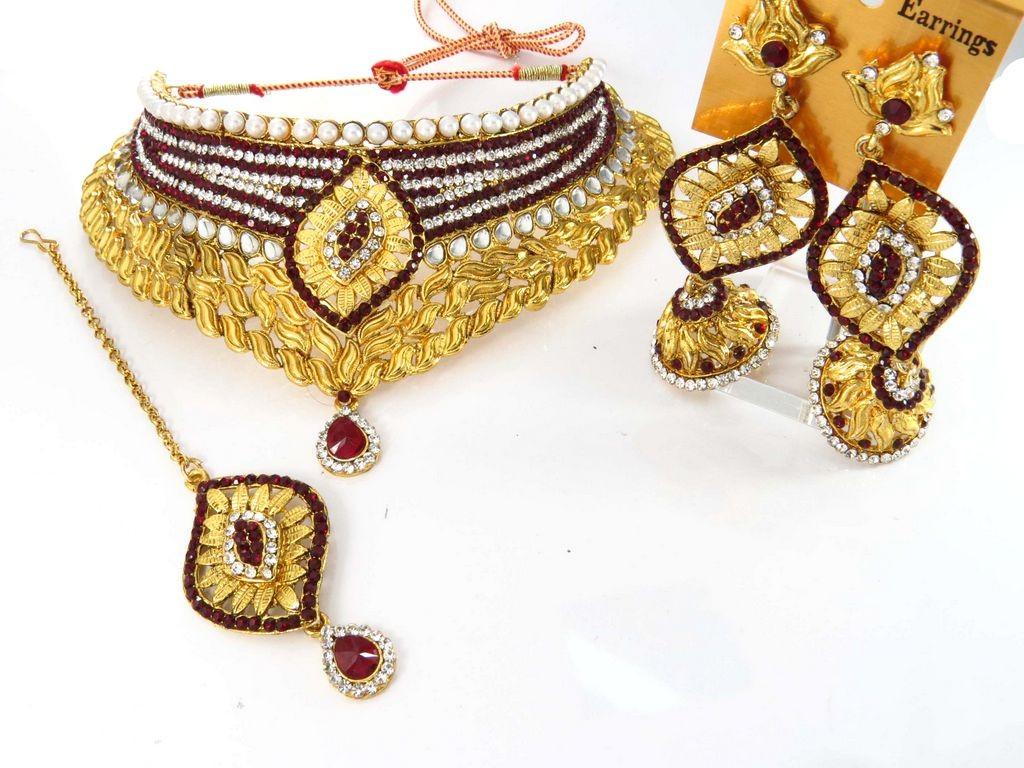 Conjunto granate joyas hindues