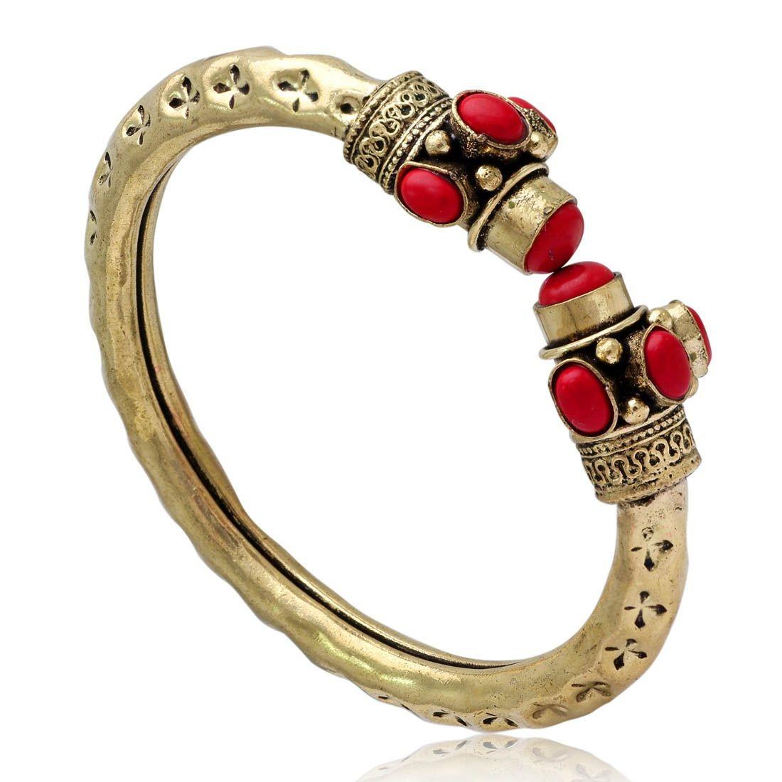 Pulsera india piedras rojas