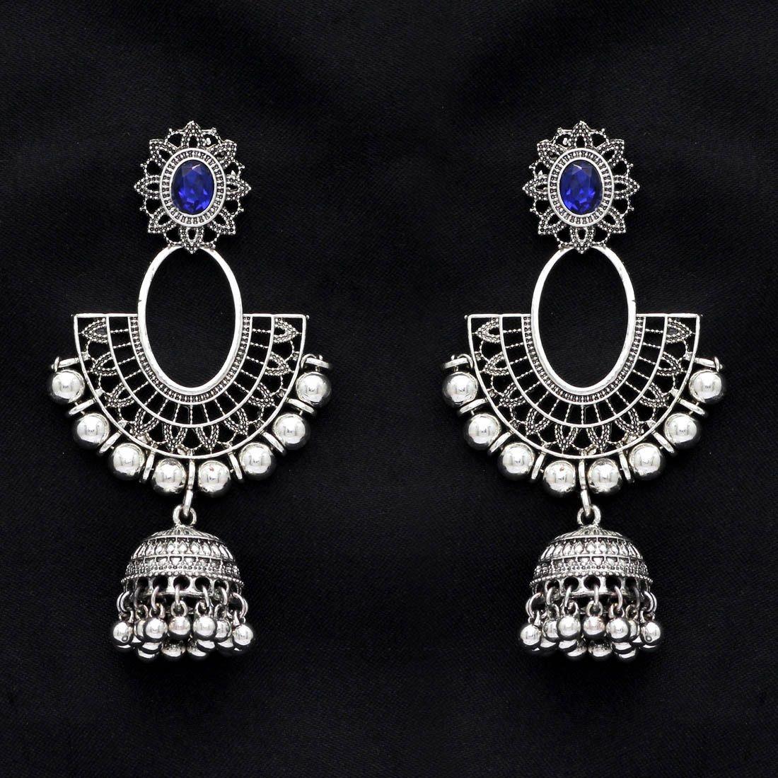 Pendientes bollywood cristal azul