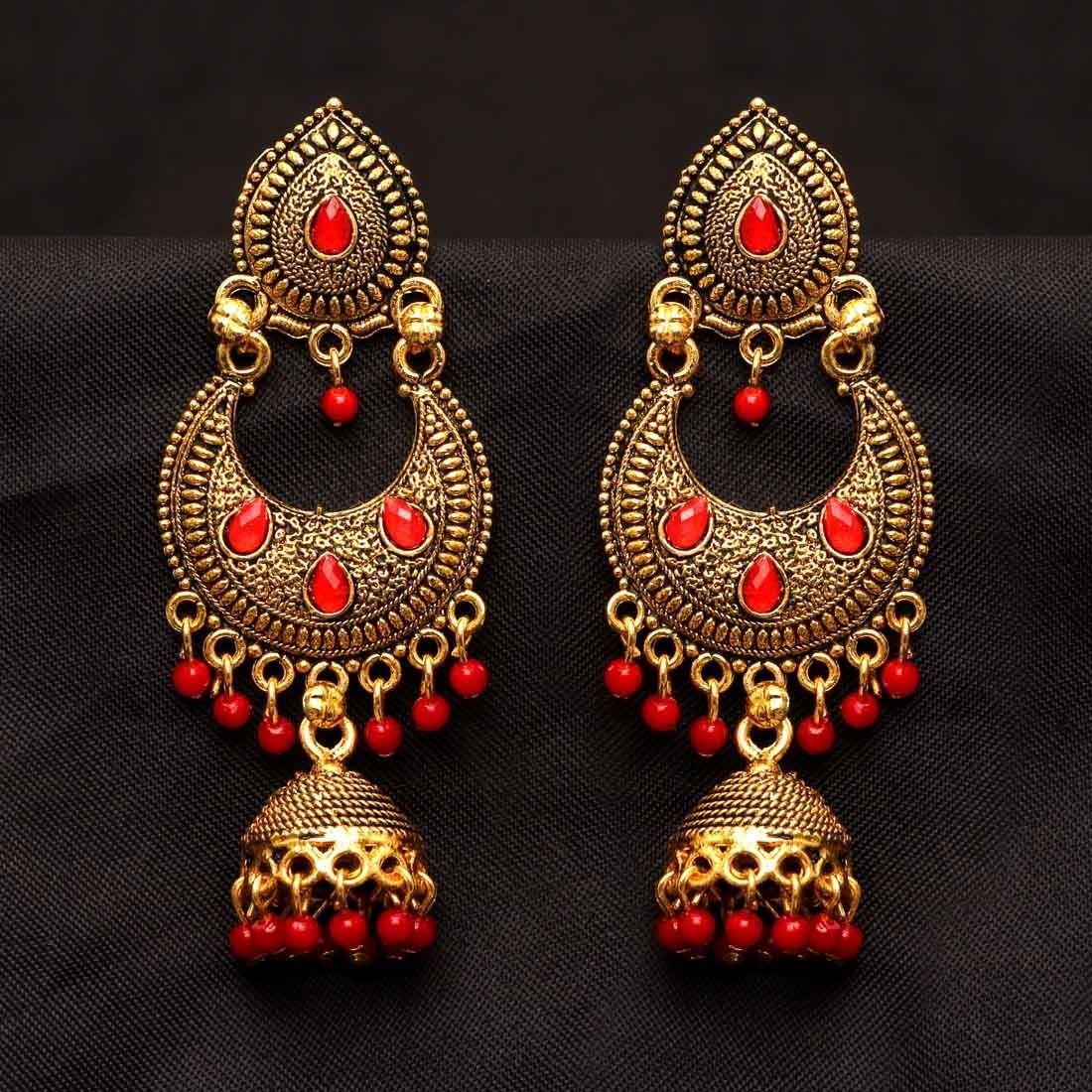 Pendientes Bollywood rojos
