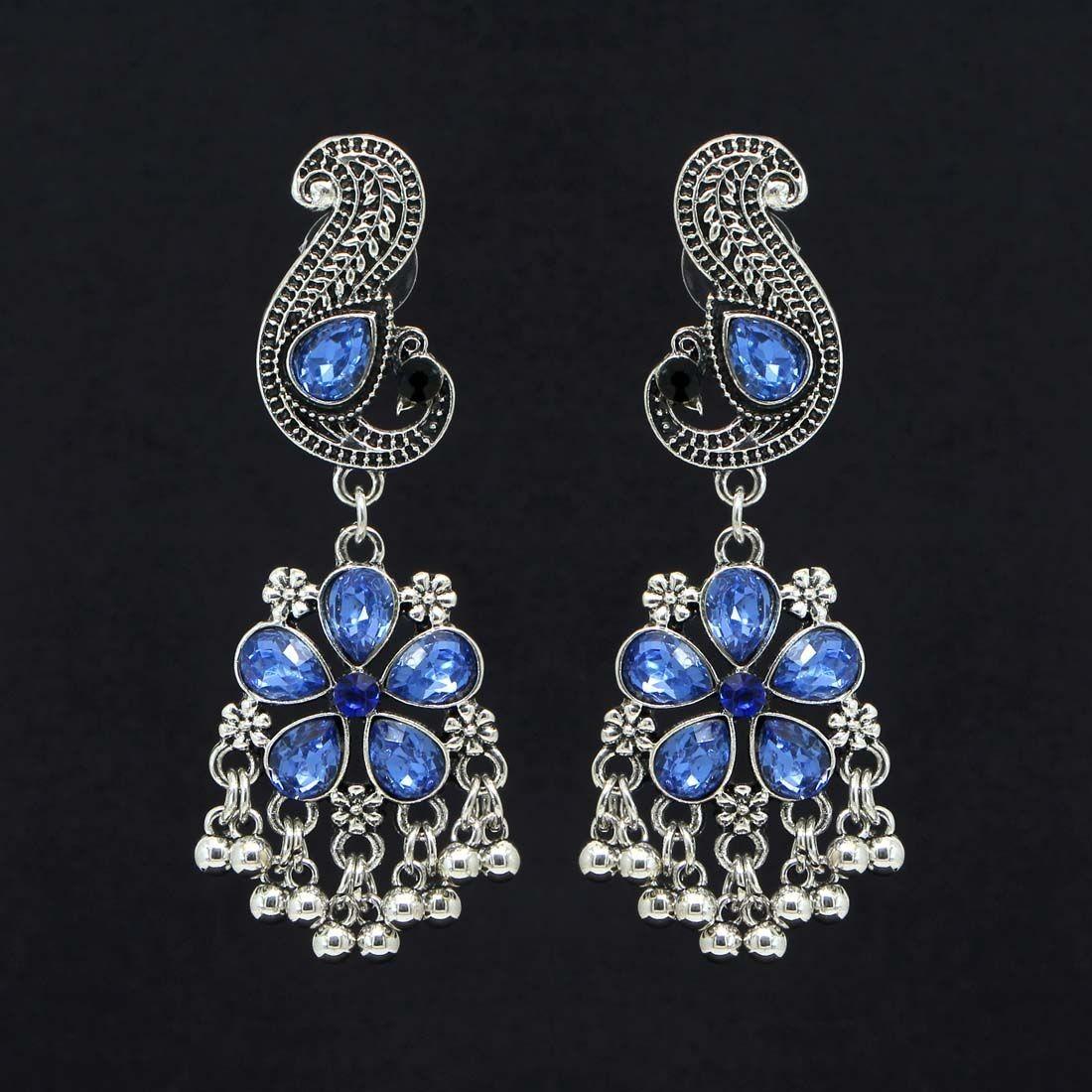 Pendientes flor piedras azules
