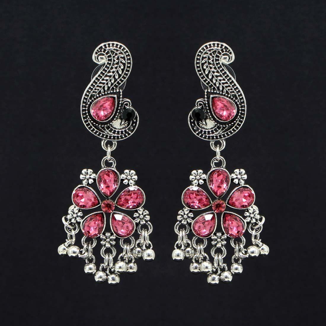 Pendientes flor piedras rosas