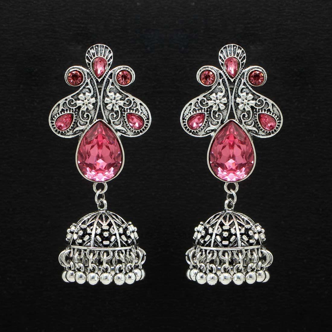 Pendientes hindues piedras rosas