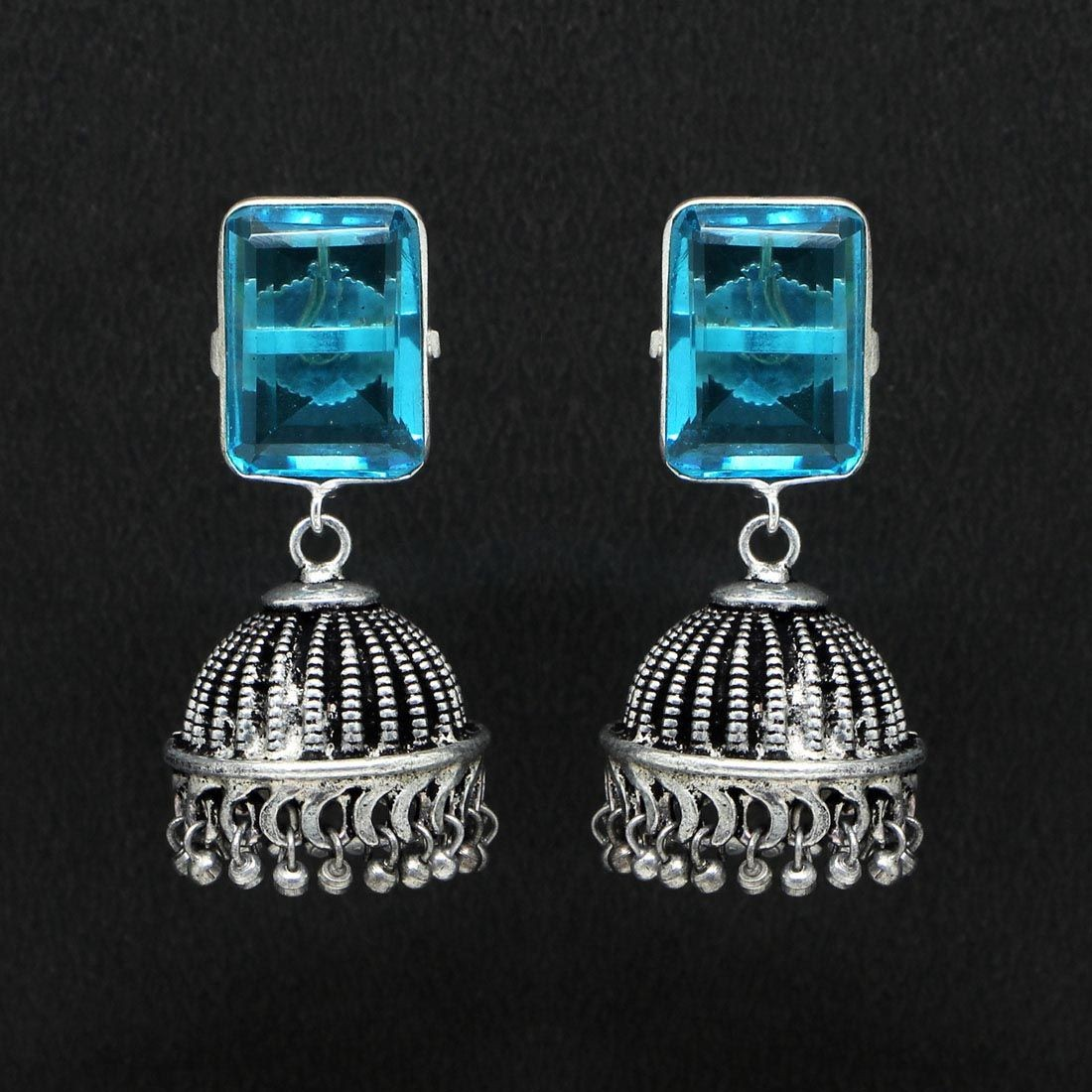Pendientes India Cristal azul