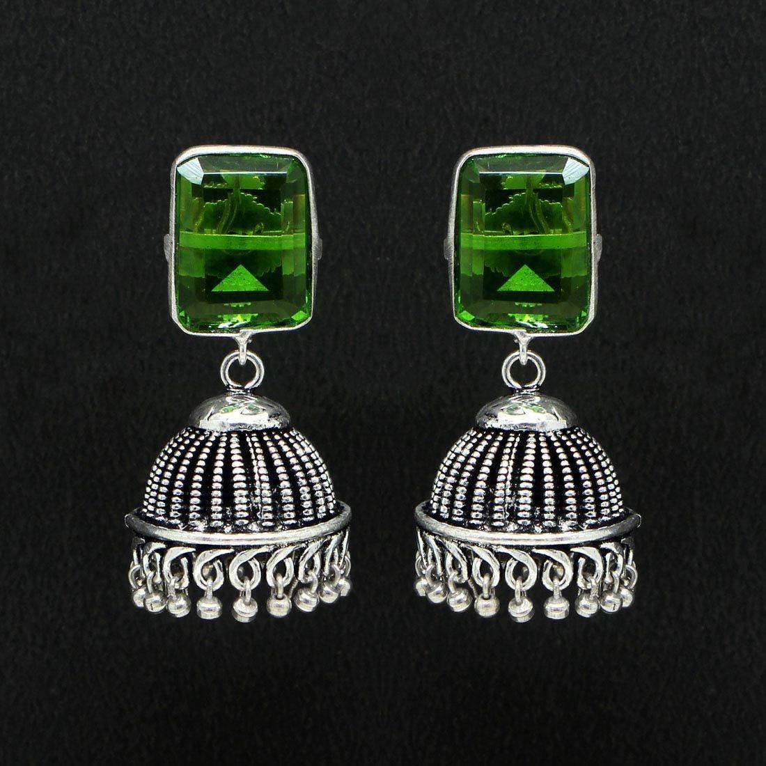 Pendientes Bollywood cristal verde