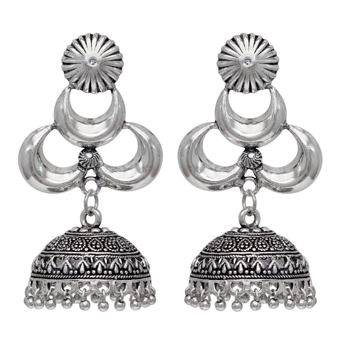 Pendientes plateados campana india