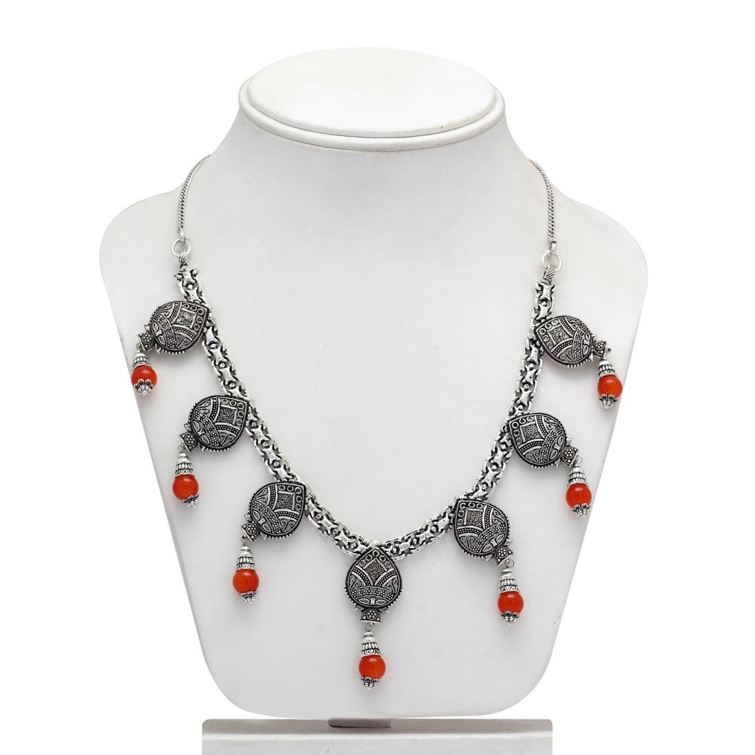Collar color naranja y plata