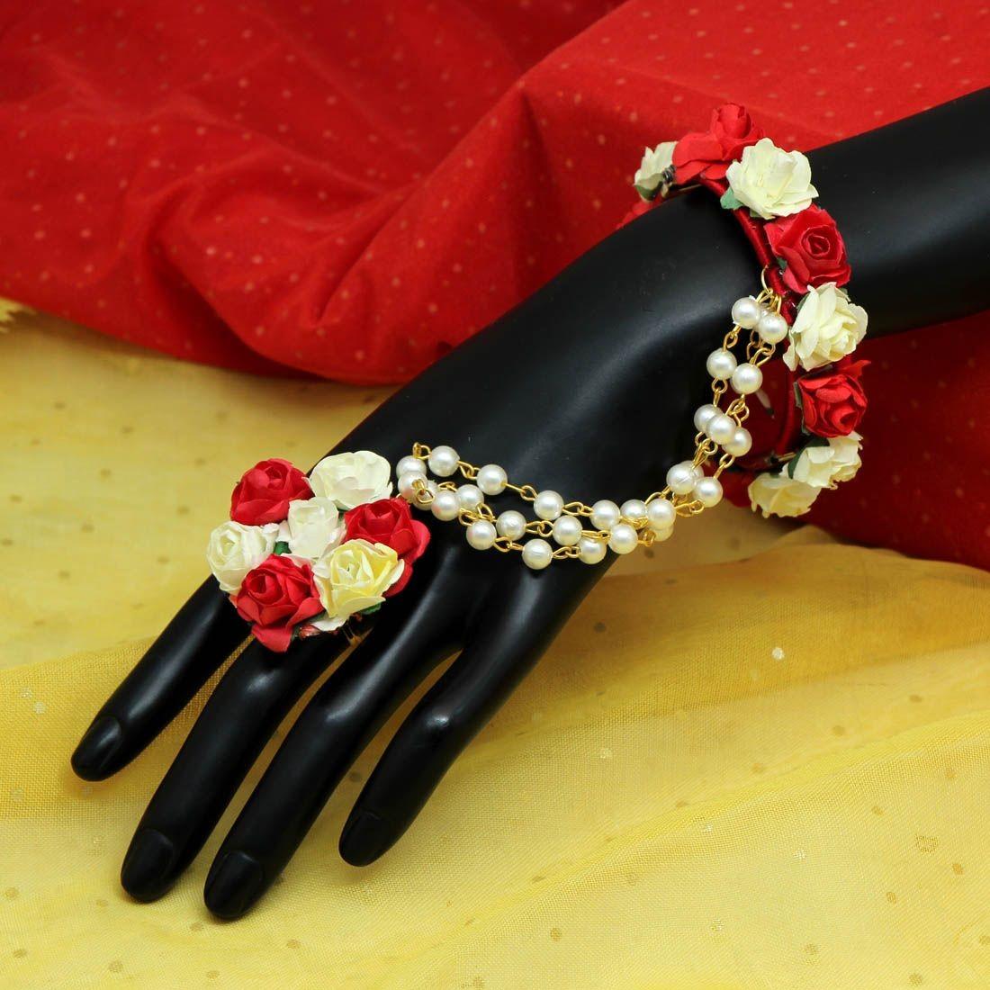 Pulsera india Rosas Rojas y Blancas
