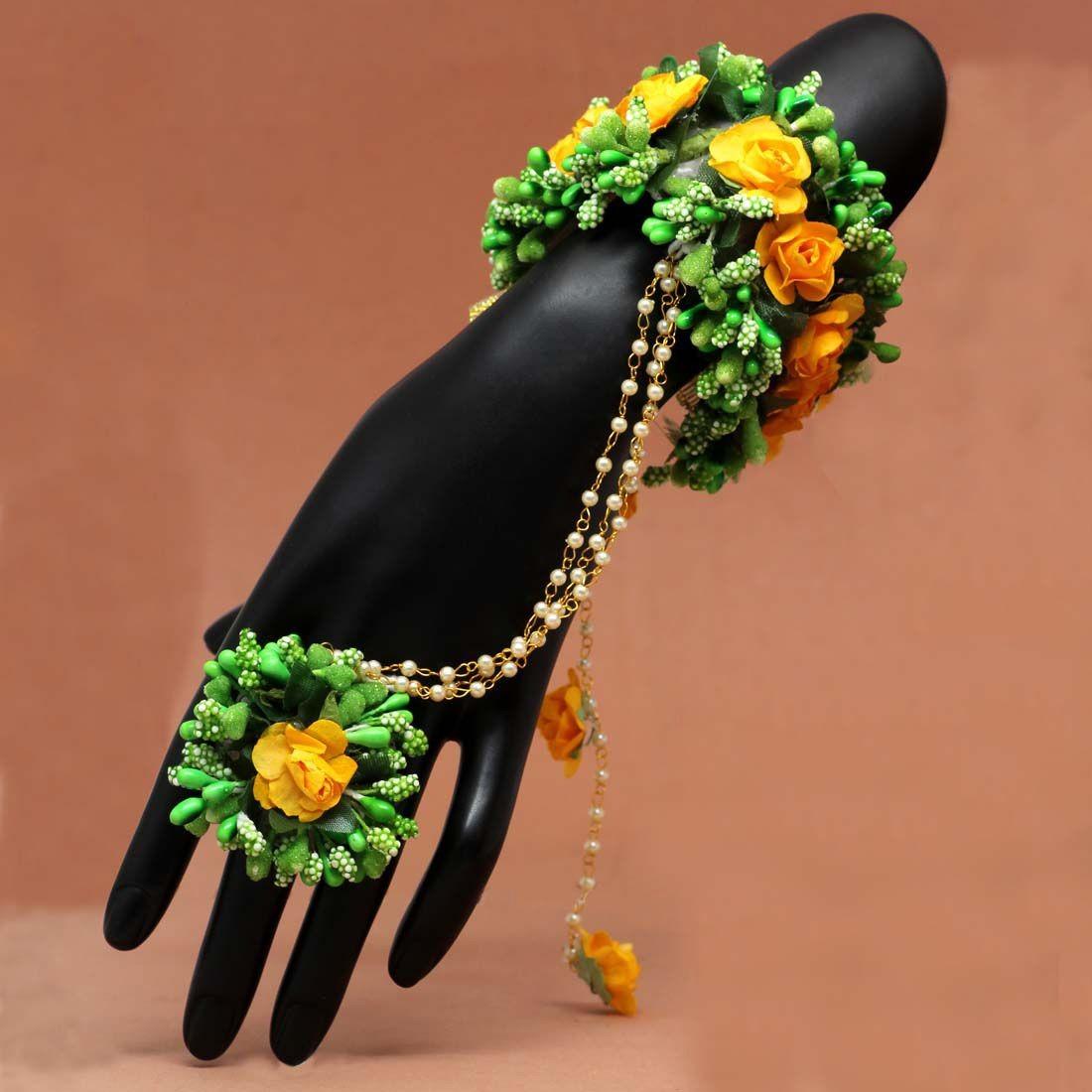 Pulsera Verde con rosas indias