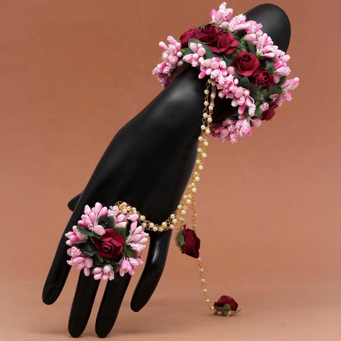 Pulsera india de rosas con anillo