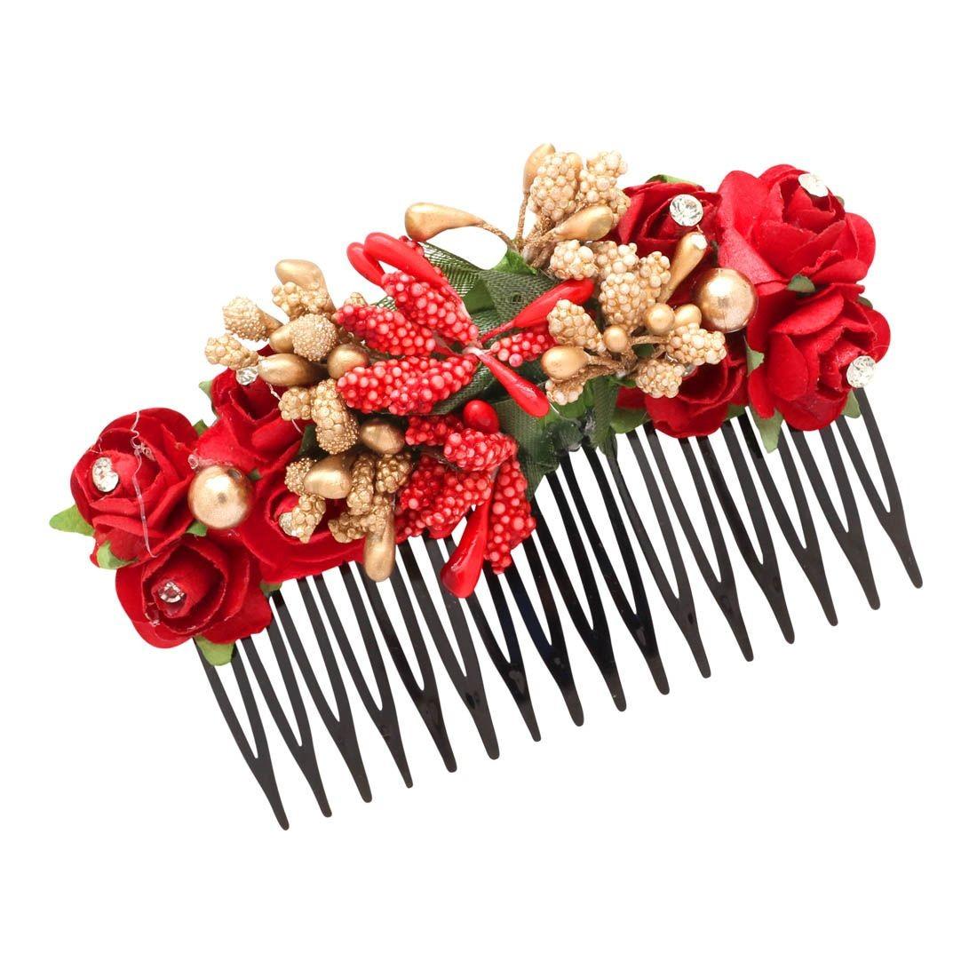 Peineta India flores rojas