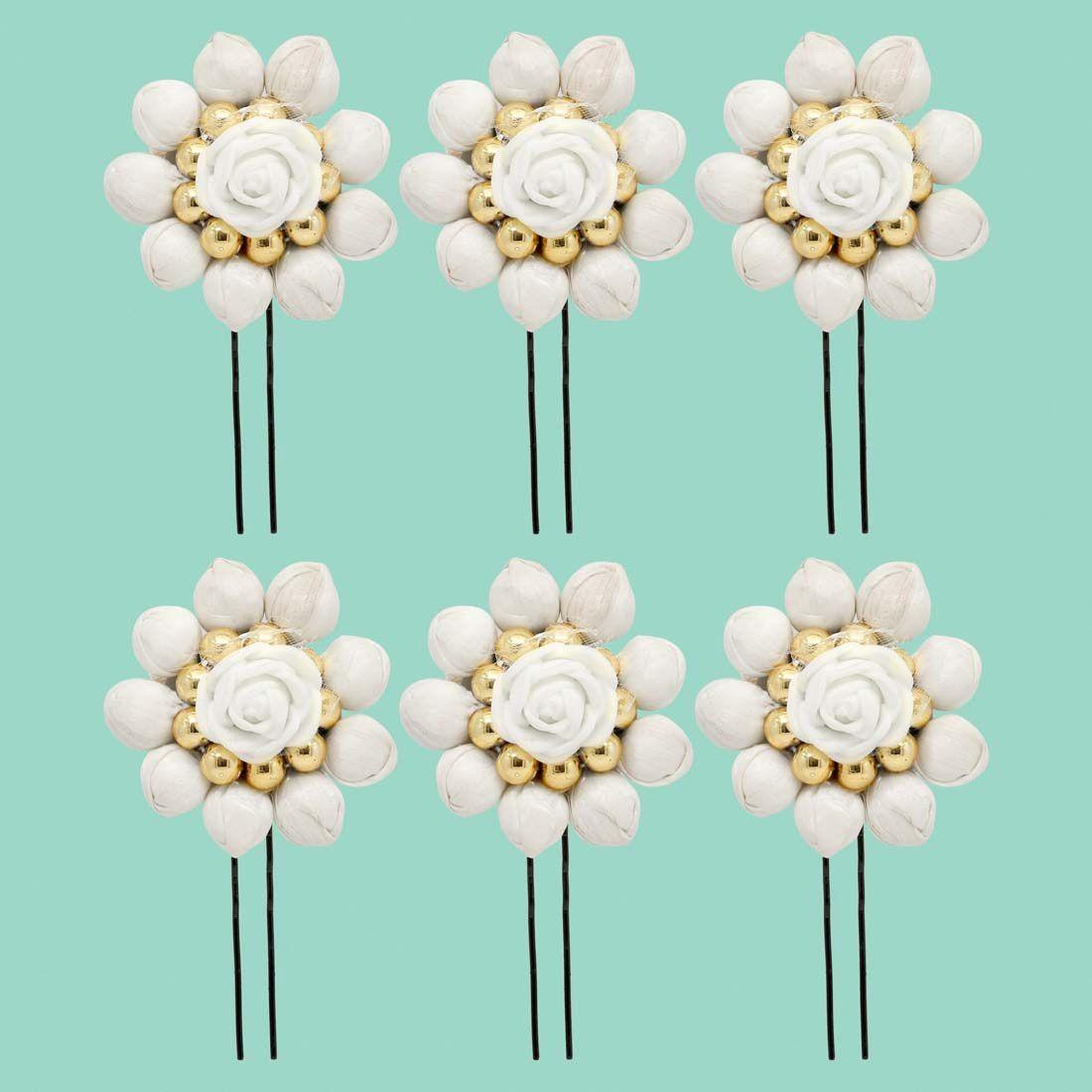 Horquillas Flores Blanco Roto