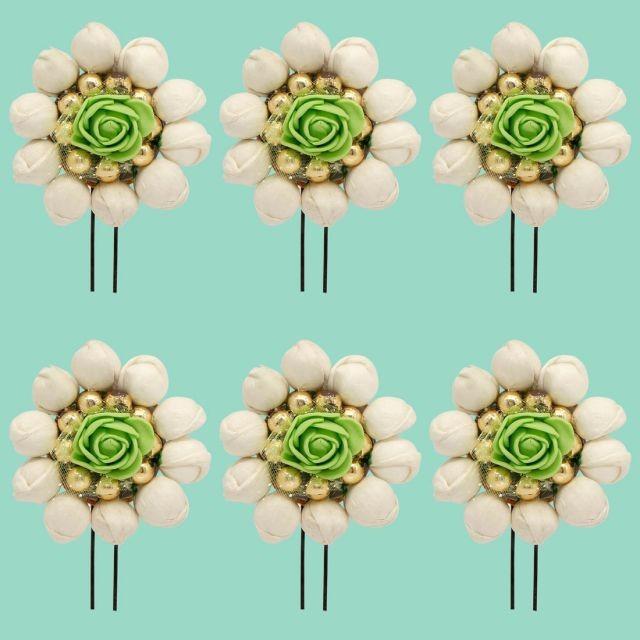 Horquillas Flores Artesanales Verde