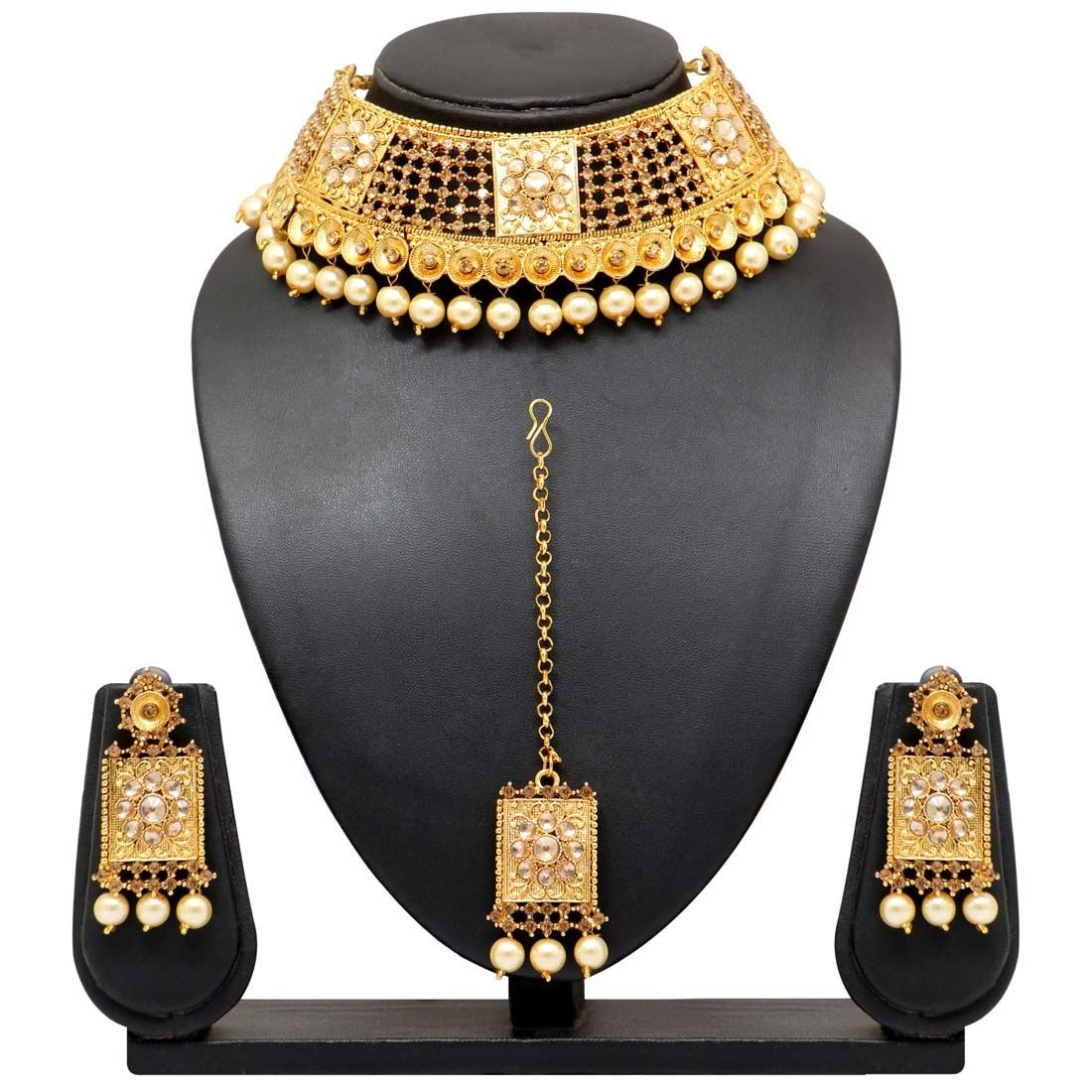 Conjunto dorado joyas indias