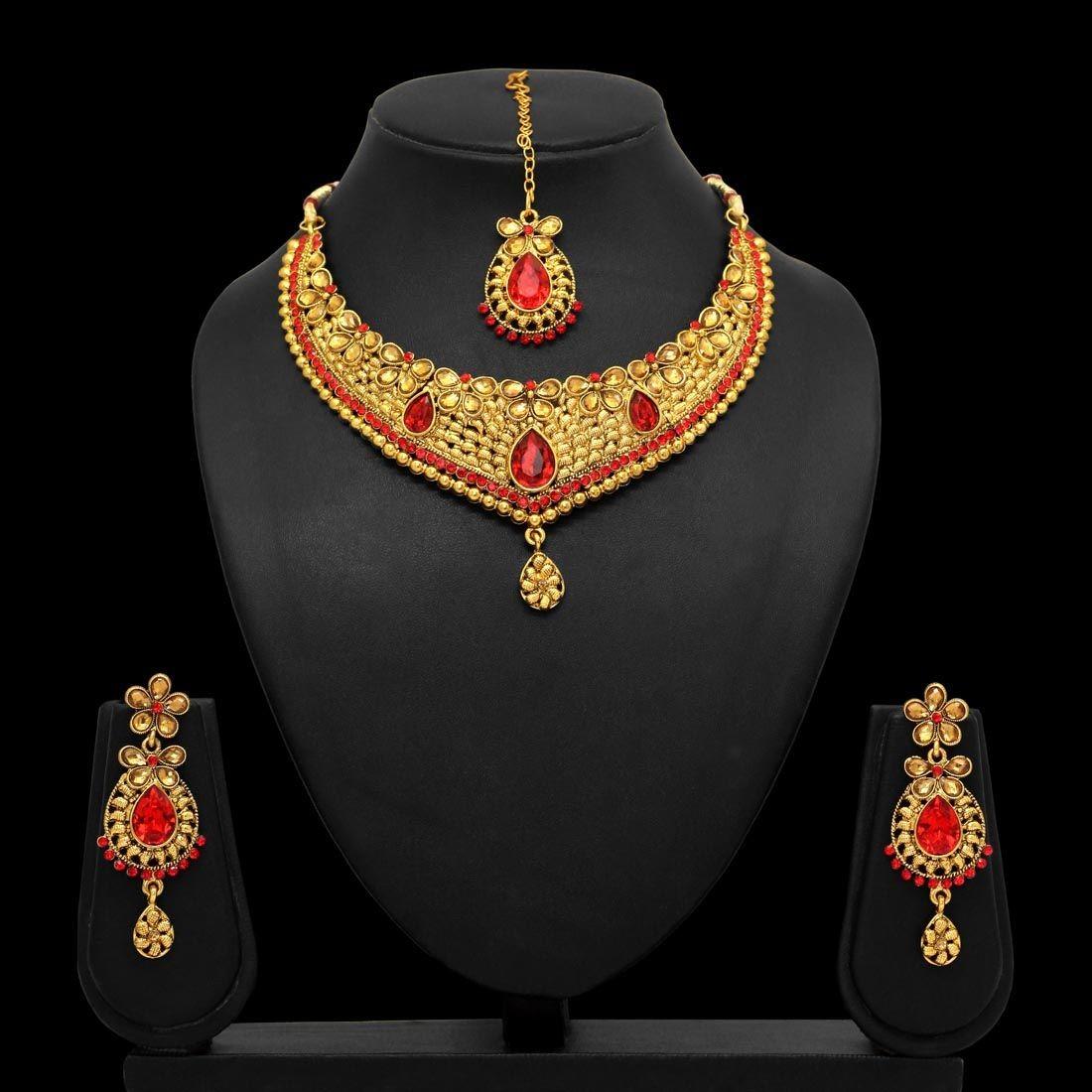 Conjunto indio piedras rojas