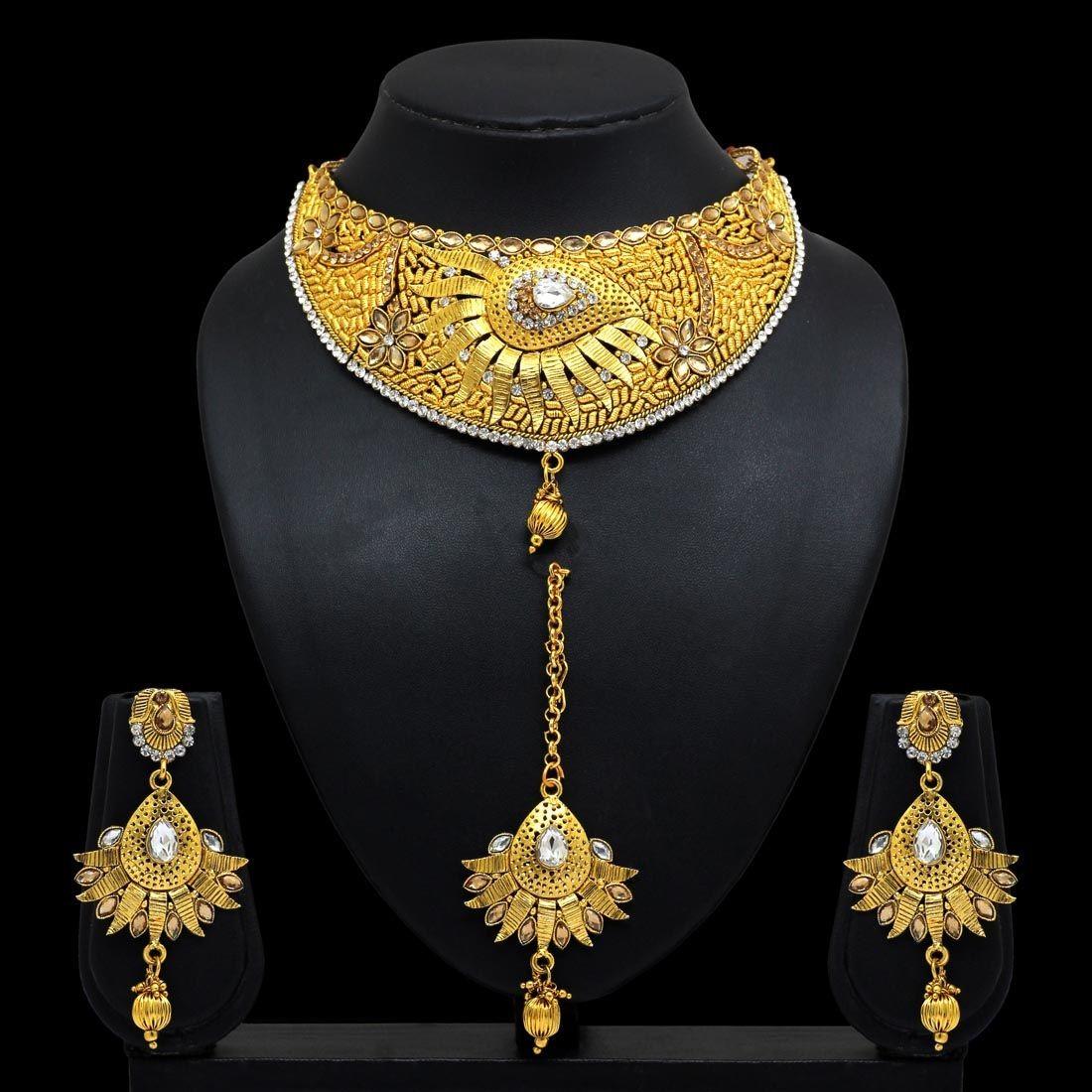 Conjunto joyas doradas de la india