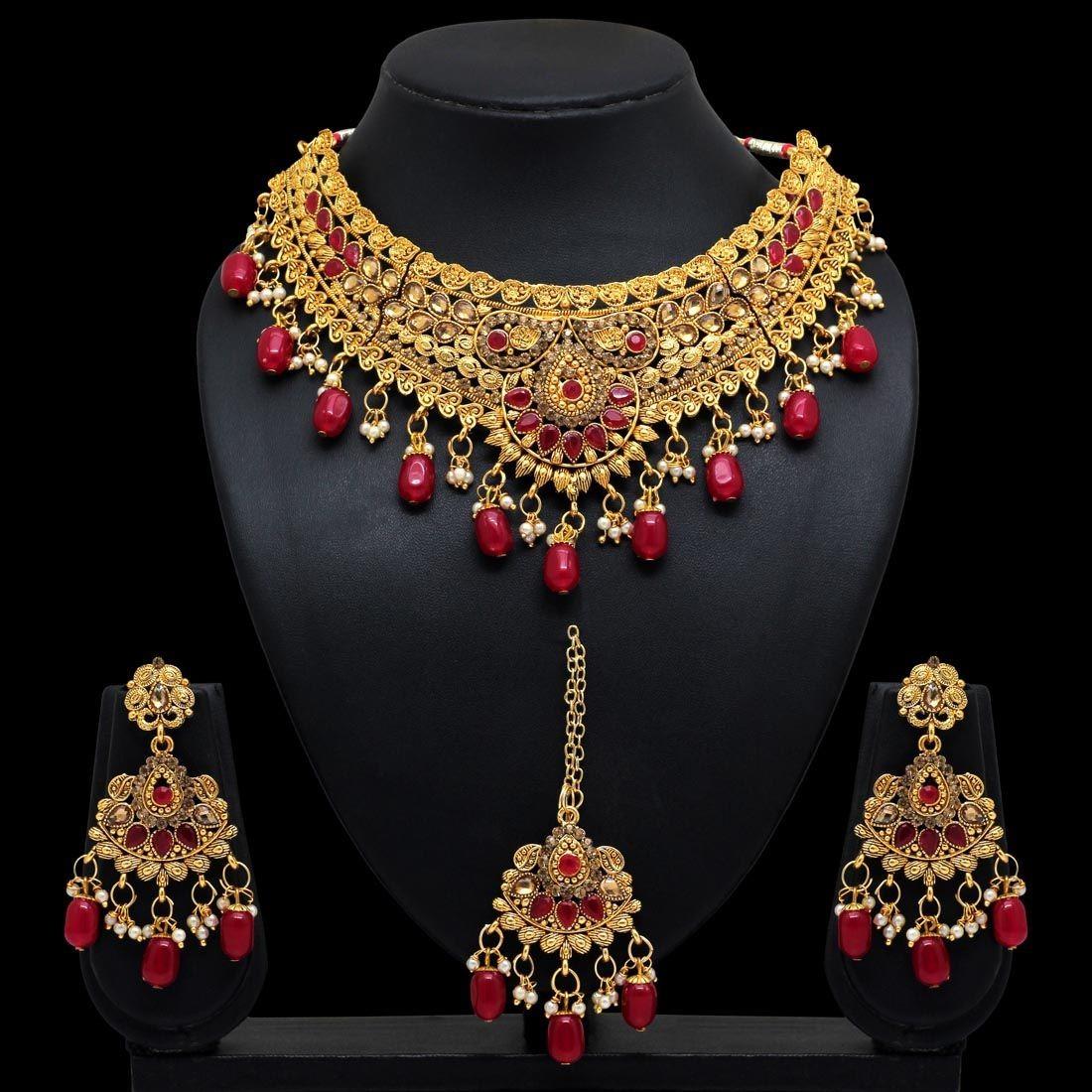 Conjunto india colgantes rojos